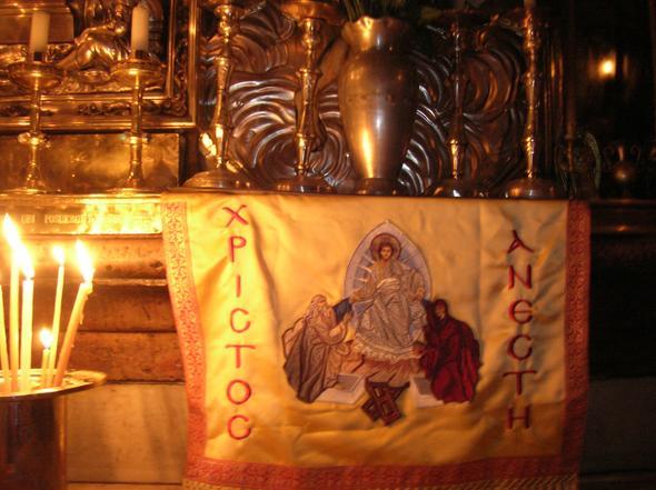 Im heiligen Grab in der Grabeskirche in Jerusalem - (Ostern, feiern, Fest)