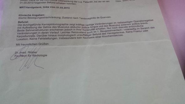 Erstes MRT März 2013 - (Hand, MRT, Befund)